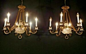 Antique French Empire Waterford Style Crystal Bronze 6 Lite Chandelier 2 Avail