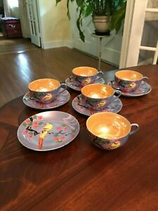 Vintage Made In Japan Tea Cups Saucers Lot Hand Painted Birds Floral Japanese