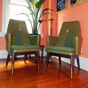 Mid Century Modern High Back Naugahyde Chair Set 1960 S Green Olive With Brass