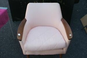 Soft Pink Upholstered Arm Chair Vintage Antique Pub Club Easy Sto