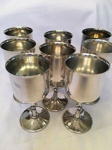 Vintage El De Uberti Silver Plated Wine Champagne Goblets Italy Set Of 8
