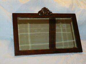 Old Antique Oak Arts Crafts Mission Era Art Deco Wall Mirror Vintage Beveled