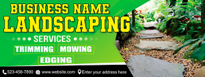 Landscaping Services Banner Trimming Mowing Edging Advertising Business Sign