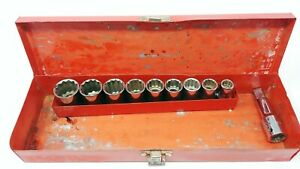 Usa Made Craftsman G 1 2 Drive Socket Set Of 9 With Extension And Case 12 Pt