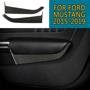 For Ford Mustang 2019 2015 Carbon Fiber Front Car Door Panel Cover Sticker Trim