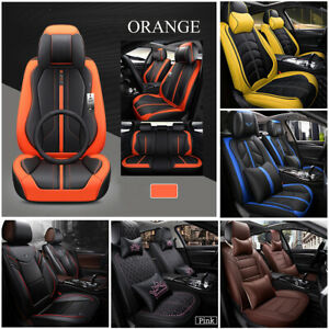 5 Seats Luxury Car Seat Covers Pu Leather Protector Cushions Headrests Pillow