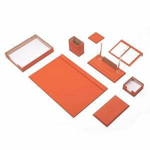 Desk Pad Set Calme 10 Pcs Imitation Leather With Document Tray In Orange