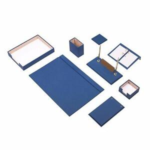 Desk Pad Set Calme 10 Pcs Imitation Leather With Document Tray In Blue