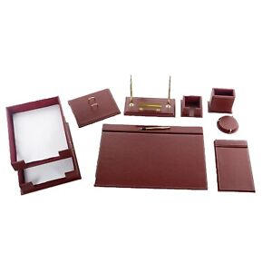 Desk Pad Set Calme 10 Pcs Imitation Leather With Document Tray In Red