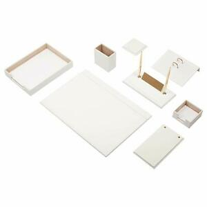 Desk Pad Set Calme 10 Pcs Imitation Leather With Document Tray In White