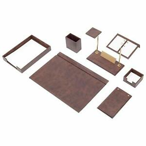 Desk Pad Set Calme 10 Pcs Imitation Leather With Document Tray In Brown
