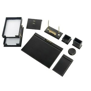 Desk Pad Set Calme 10 Pcs Imitation Leather With Document Tray In Black