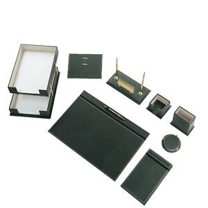 Desk Pad Set Calme 10 Pcs Imitation Leather With Document Tray In Green