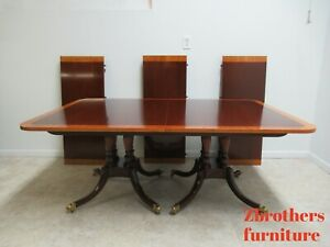 Baker Furniture Historic Charleston Mahogany Double Pedestal Dining Room Table
