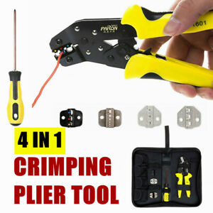 Professional 4 In 1 Wire Crimper Pliers Ratcheting Terminal Crimping Tool Kit Us