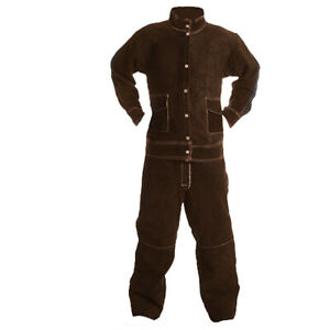 Cowhide Welding Suit Heat Insulation Protective Clothing Work Safty Brown xl