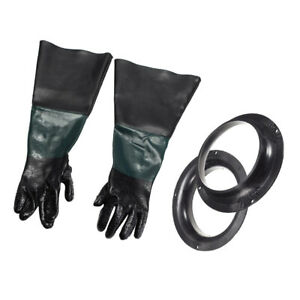 1 Pair Heavy Duty Gloves With Glove Holder Fits For Sand Blast Cabinet