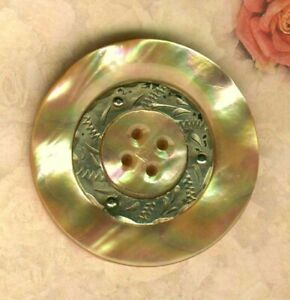 Large Beautiful South Sea S Shell Button W Pinned In Engraved Pewter Ring