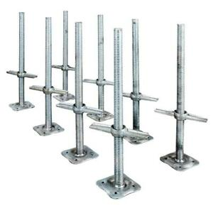 Scaffolding Leveling Jack Steel Plate Base Adjustable Screw 8 Pack Metaltech New