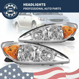 For 2002 2003 2004 Toyota Camry Clear Chrome Headlights Headlamps Pair Set