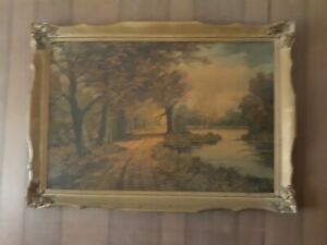 Antique Large Wooden Frame With Picture