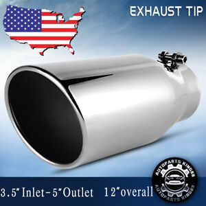 Straight Performance Exhaust Tip 3 5 Inlet 5 Outlet 12 Long Stainless Steel