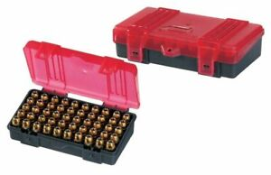 Plano 50 Count Handgun Ammo Hard Case GreyRed Ammunition Box 9mm .38 .44 .45