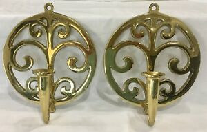 Vtg Virginia Metalcrafters Solid Brass Candle Wall Sconces Fabulous Shine