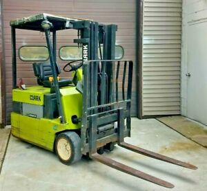 Clark Tm15 Electric Forklift 3000 Lbs Pneumatic cushion Tires