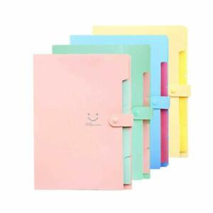 File Folders 5 Pockets A4 4 Color Accordion Document Holder School Office Travel