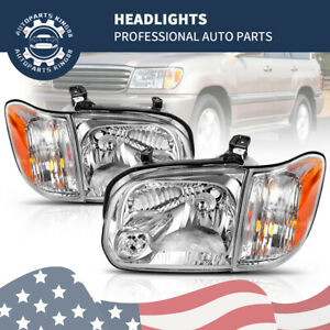 For 2005 2006 Toyota Tundra Double Cab 05 07 Sequoia Chrome Headlights Headlamps