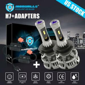 H7 4 sided Led Headlight Bulbs 6500k White With Canbus Error Free Anti Flicker