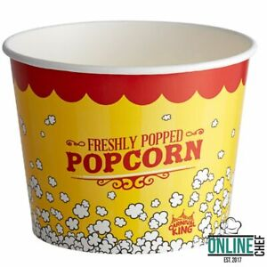 Round Paper Movie Theatre Concession Popcorn Bucket 7 Inches 150 Pack 85 Oz