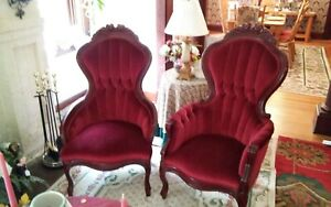 Local Pick Up Only Vintage Parlor Chairs His Hers Victorian Mahogany