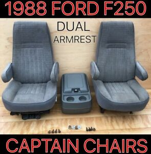 1987 91 Ford Pickup Truck Bronco F150 250 350 Bucket Seat Captain Chair Gray Oe