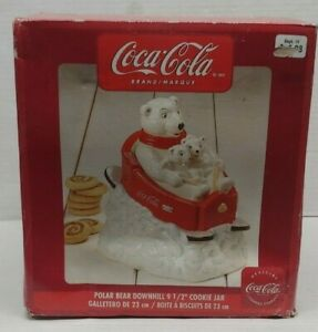 Vtg Coke Coca Cola Cookie Jar Polar Bear Downhill Sledding By Gibson New In Box