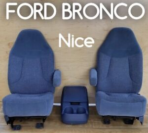 1992 Ford Bronco Bucket Seats Captain Chairs Blue F150 Truck Turbo Diesel Pickup