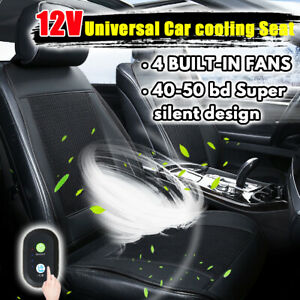 Cooling Car Seat Cushion Cover Air Ventilated Fan Conditioned Cooler Pad 4 Fans