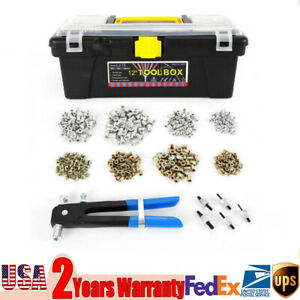 Insert Riveting Tool Gun Set 464pcs M3 M4 M5 M6 M8 Ribbed Threaded Nut Rivet Us