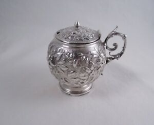 Gorham Coin Silver Repousse Extra Large Mustard Pot Jar Not Sterling Flowers