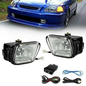 For 96 98 Honda Civic Clear Lens Fog Lights Lamps