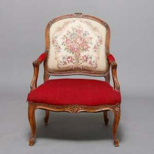 Antique French Louis Xvi Style Carved Fruitwood Tapestry Armchair 20th Century