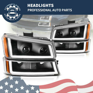 For 2003 2006 Chevy Silverado Black clear Led Drl Headlight Headlamp Replacement