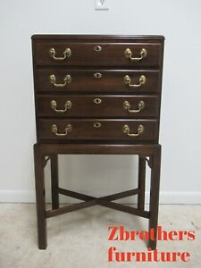 Ethan Allen Georgian Court High Leg Silver Chest Land End Table Pedestal