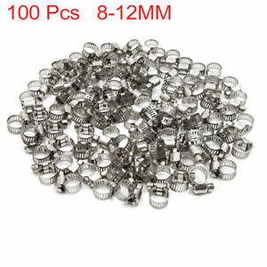 100pcs 8 12mm Stainless Steel Car Vehicle Drive Hose Clamp Fuel Line Worm Clip