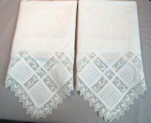 Antique Pillowcases With Pin Tucks Figural Animals Filet Lace Edging