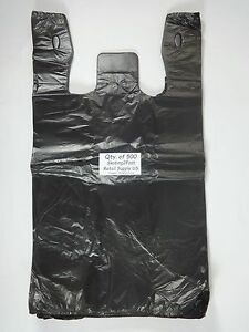 500 Qty Black Plastic T shirt Retail Shopping Bags W Handles 11 5 X 6 X 21