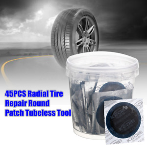 45pcs Radial Tire Repair Round Patch Tubeless Tool Assortment Small Medium Large