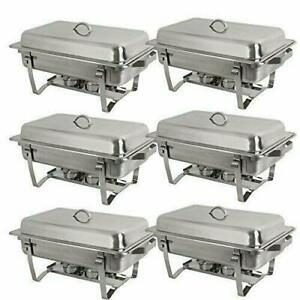 6 X Catering Stainless Steel Chafer Chafing Dish Sets 8qt Full Size Buffet Party