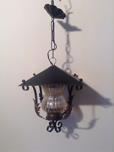 French Hooded Lantern Wrought Iron Style Pendant Ceiling Light 3742